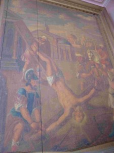 Les tableaux délaissés de l'église de Wissant: comparaison entre Audresselles et Wissant dans art la-crucifixion-de-saint-pierre-eglise-de-wissant-huile-sur-panneau-xviie-siecle-225x300