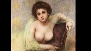 carrier belleuse Pierre aguicheuse au châle vert 1898 pastel 25F
